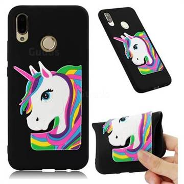 Rainbow Unicorn Soft 3D Silicone Case for Huawei P20 Lite - Black