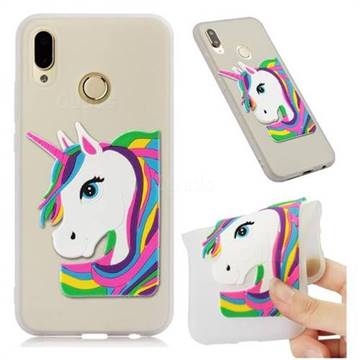 Rainbow Unicorn Soft 3D Silicone Case for Huawei P20 Lite - Translucent White