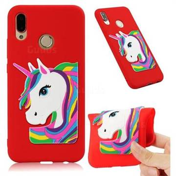 Rainbow Unicorn Soft 3D Silicone Case for Huawei P20 Lite - Red