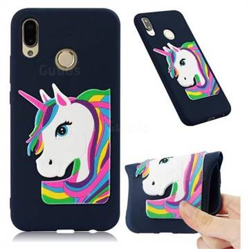 Rainbow Unicorn Soft 3D Silicone Case for Huawei P20 Lite - Navy