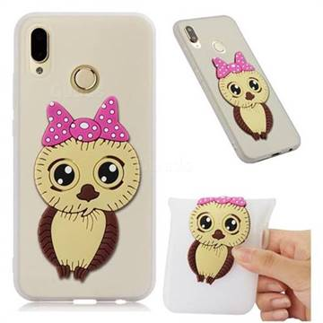Bowknot Girl Owl Soft 3D Silicone Case for Huawei P20 Lite - Translucent White