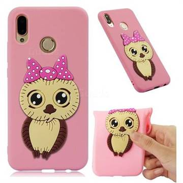 Bowknot Girl Owl Soft 3D Silicone Case for Huawei P20 Lite - Pink