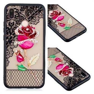 Rose Lace Diamond Flower Soft TPU Back Cover for Huawei P20 Lite
