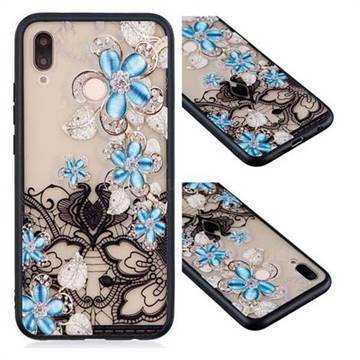 Lilac Lace Diamond Flower Soft TPU Back Cover for Huawei P20 Lite