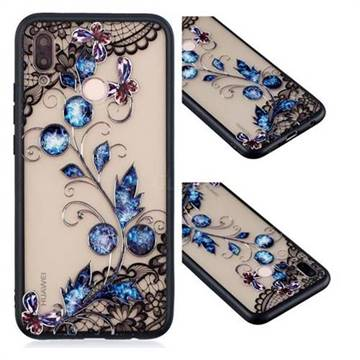 Butterfly Lace Diamond Flower Soft TPU Back Cover for Huawei P20 Lite