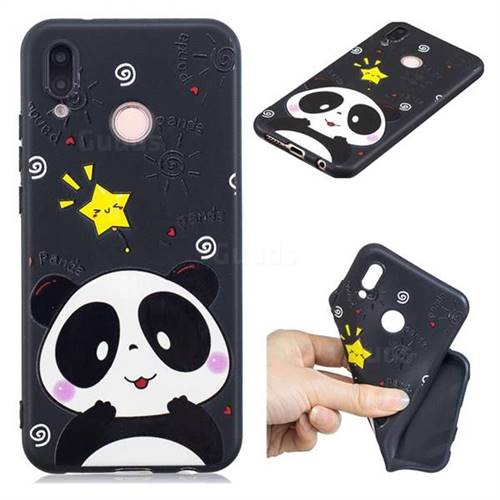 Cute Bear 3D Embossed Relief Black TPU Cell Phone Back Cover for Huawei P20 Lite