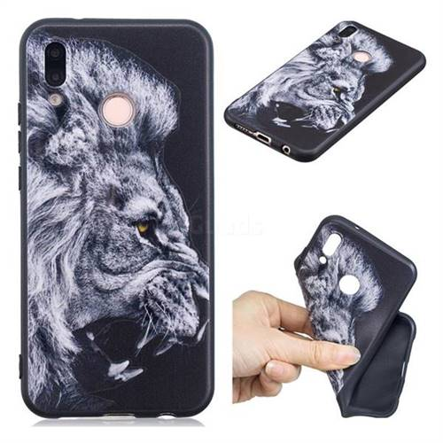 Lion 3D Embossed Relief Black TPU Cell Phone Back Cover for Huawei P20 Lite