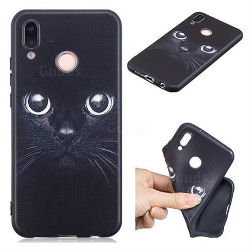 Bearded Feline 3D Embossed Relief Black TPU Cell Phone Back Cover for Huawei P20 Lite
