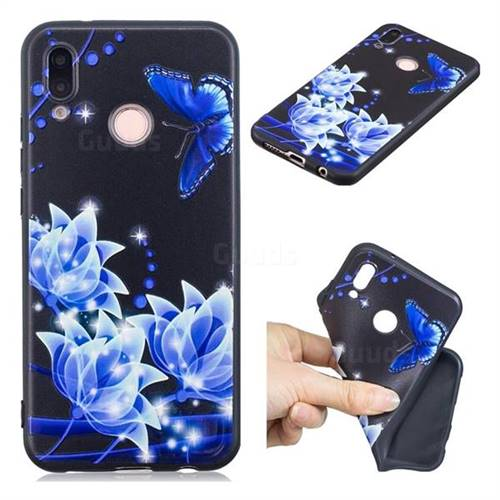 Blue Butterfly 3D Embossed Relief Black TPU Cell Phone Back Cover for Huawei P20 Lite