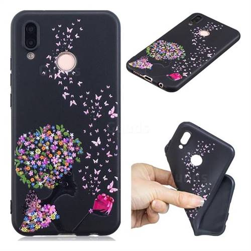 Corolla Girl 3D Embossed Relief Black TPU Cell Phone Back Cover for Huawei P20 Lite