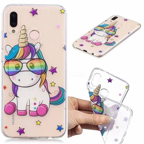 Glasses Unicorn Clear Varnish Soft Phone Back Cover for Huawei P20 Lite