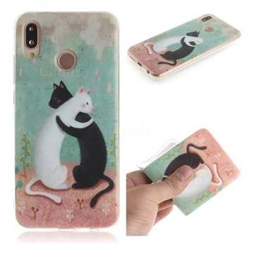 Black and White Cat IMD Soft TPU Cell Phone Back Cover for Huawei P20 Lite