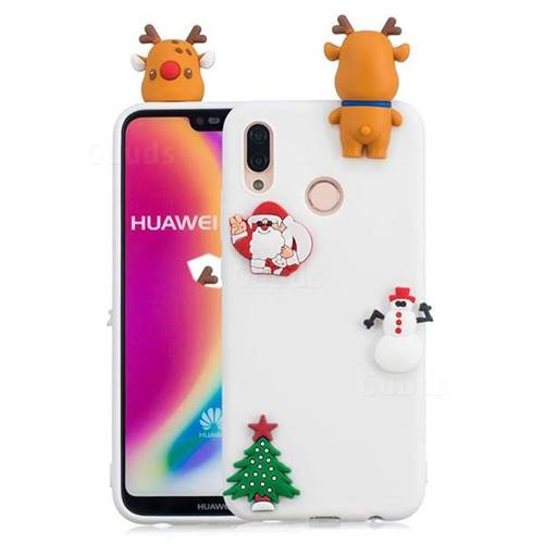 White Elk Christmas Xmax Soft 3D Silicone Case for Huawei P20 Lite