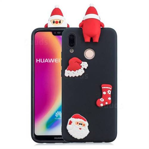 Black Santa Claus Christmas Xmax Soft 3D Silicone Case for Huawei P20 Lite