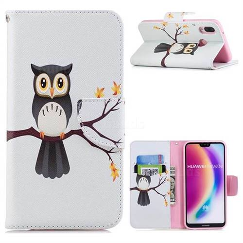 Owl on Tree Leather Wallet Case for Huawei P20 Lite