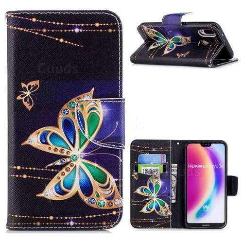 Golden Shining Butterfly Leather Wallet Case for Huawei P20 Lite