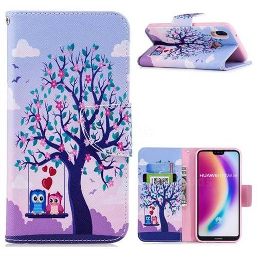 Tree and Owls Leather Wallet Case for Huawei P20 Lite