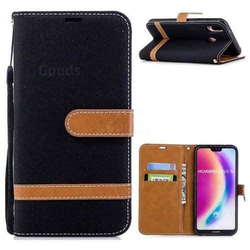 Jeans Cowboy Denim Leather Wallet Case for Huawei P20 Lite - Black