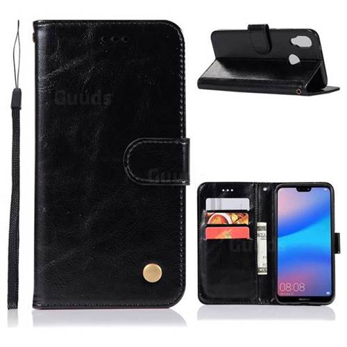 Luxury Retro Leather Wallet Case for Huawei P20 Lite - Black