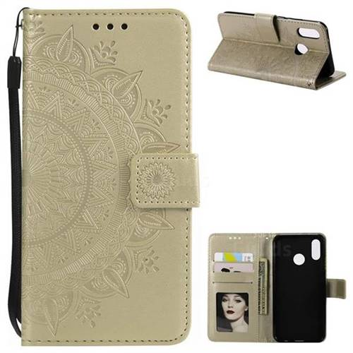 Intricate Embossing Datura Leather Wallet Case for Huawei P20 Lite - Golden