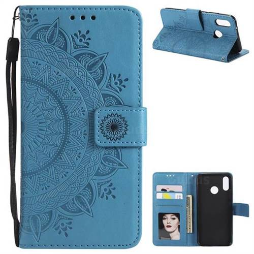 Intricate Embossing Datura Leather Wallet Case for Huawei P20 Lite - Blue