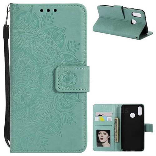 Intricate Embossing Datura Leather Wallet Case for Huawei P20 Lite - Mint Green