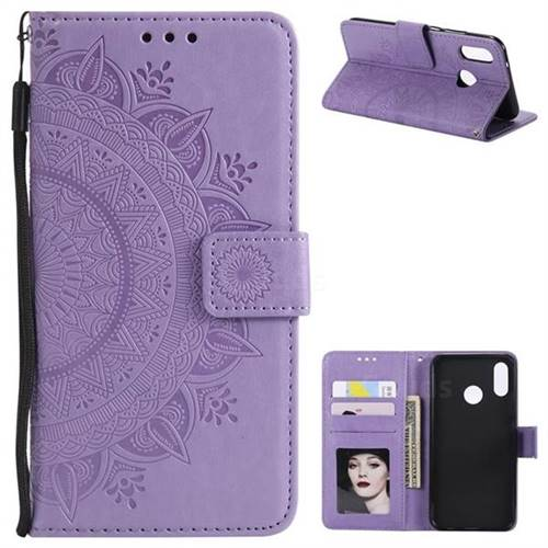 Intricate Embossing Datura Leather Wallet Case for Huawei P20 Lite - Purple
