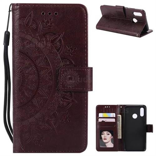 Intricate Embossing Datura Leather Wallet Case for Huawei P20 Lite - Brown