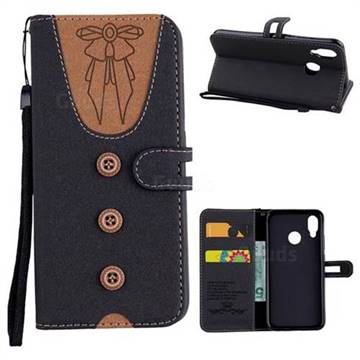 Ladies Bow Clothes Pattern Leather Wallet Phone Case for Huawei P20 Lite - Black