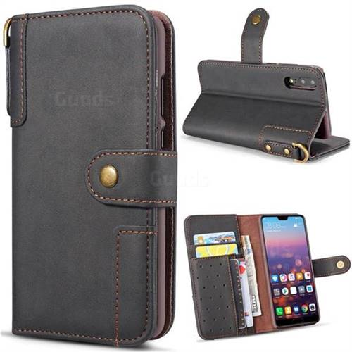 Retro Luxury Cowhide Leather Wallet Case for Huawei P20 Lite - Black