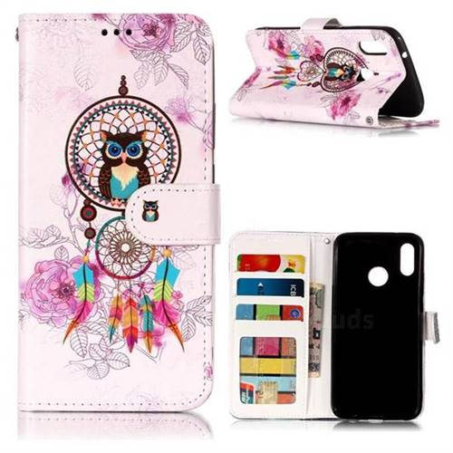 Wind Chimes Owl 3D Relief Oil PU Leather Wallet Case for Huawei P20 Lite