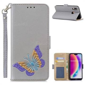 Imprint Embossing Butterfly Leather Wallet Case for Huawei P20 Lite - Grey