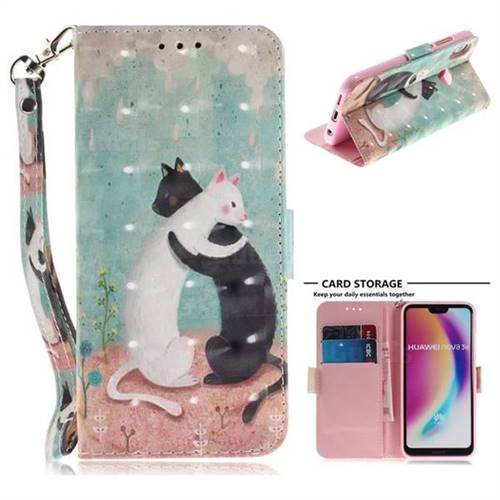 Black and White Cat 3D Painted Leather Wallet Phone Case for Huawei P20 Lite