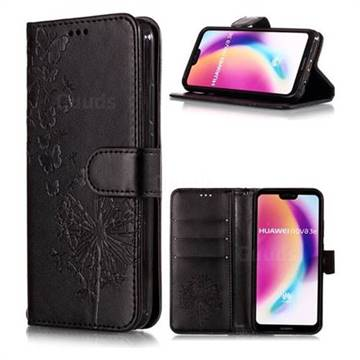 Intricate Embossing Dandelion Butterfly Leather Wallet Case for Huawei P20 Lite - Black