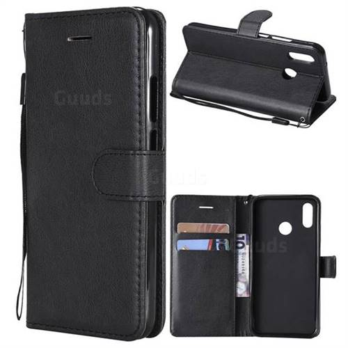 Retro Greek Classic Smooth PU Leather Wallet Phone Case for Huawei P20 Lite - Black