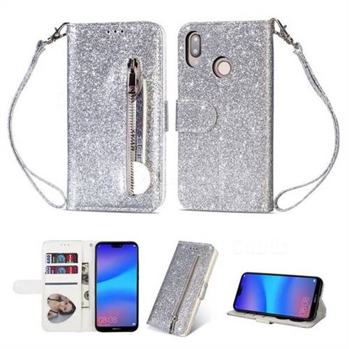 Glitter Shine Leather Zipper Wallet Phone Case for Huawei P20 Lite - Silver