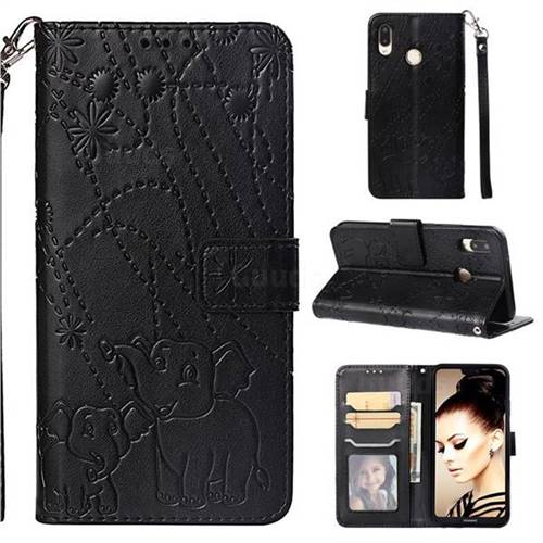 Embossing Fireworks Elephant Leather Wallet Case for Huawei P20 Lite - Black
