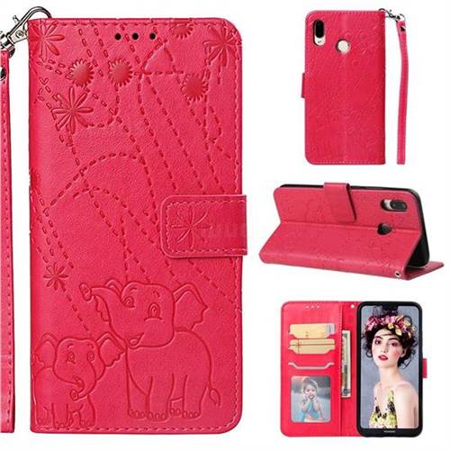 Embossing Fireworks Elephant Leather Wallet Case for Huawei P20 Lite - Red