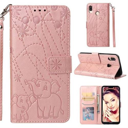 Embossing Fireworks Elephant Leather Wallet Case for Huawei P20 Lite - Rose Gold