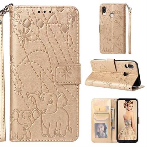 Embossing Fireworks Elephant Leather Wallet Case for Huawei P20 Lite - Golden