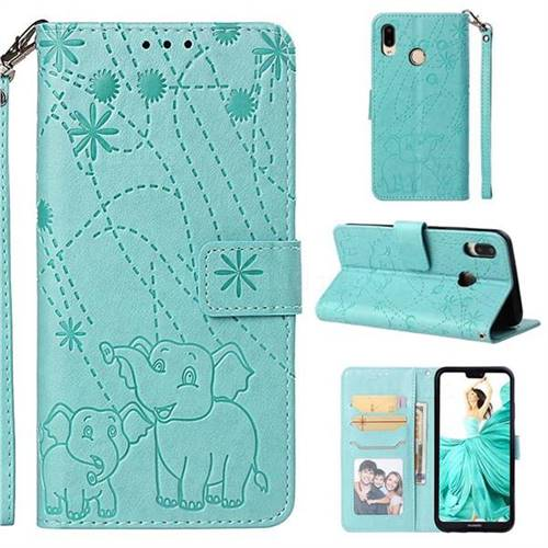Embossing Fireworks Elephant Leather Wallet Case for Huawei P20 Lite - Green