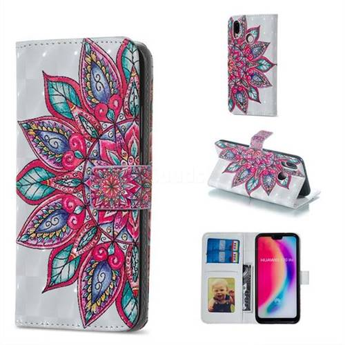 Mandara Flower 3D Painted Leather Phone Wallet Case for Huawei P20 Lite