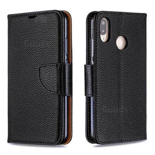 Classic Luxury Litchi Leather Phone Wallet Case for Huawei P20 Lite - Black