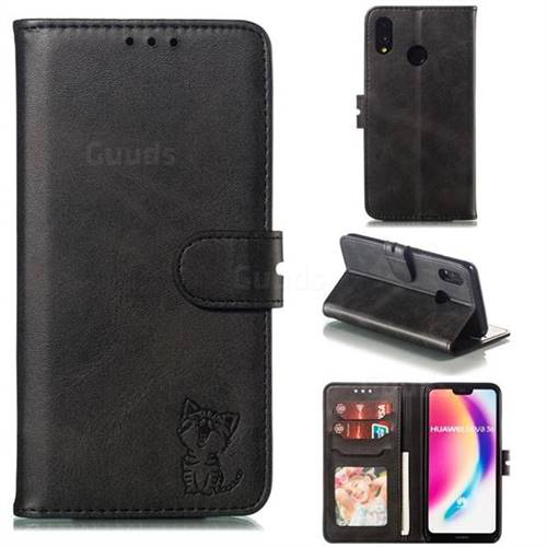 Embossing Happy Cat Leather Wallet Case for Huawei P20 Lite - Black