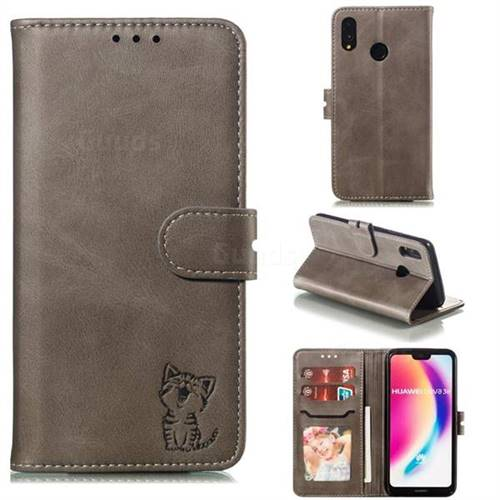Embossing Happy Cat Leather Wallet Case for Huawei P20 Lite - Gray