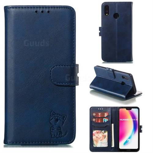 Embossing Happy Cat Leather Wallet Case for Huawei P20 Lite - Blue