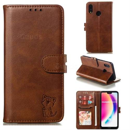 Embossing Happy Cat Leather Wallet Case for Huawei P20 Lite - Brown