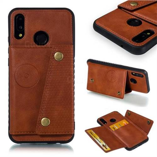Retro Multifunction Card Slots Stand Leather Coated Phone Back Cover for Huawei P20 Lite - Brown