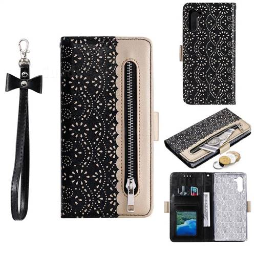 Luxury Lace Zipper Stitching Leather Phone Wallet Case for Huawei P20 Lite - Black