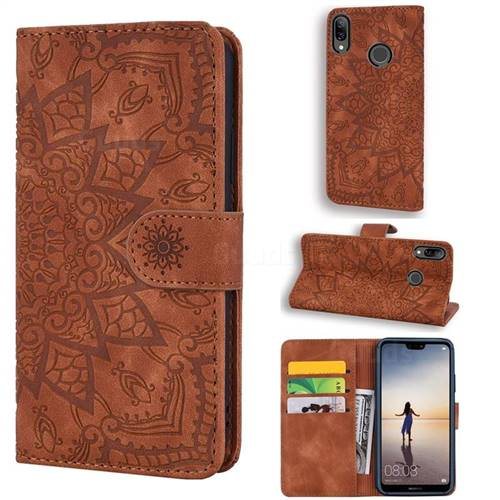Retro Embossing Mandala Flower Leather Wallet Case for Huawei P20 Lite - Brown